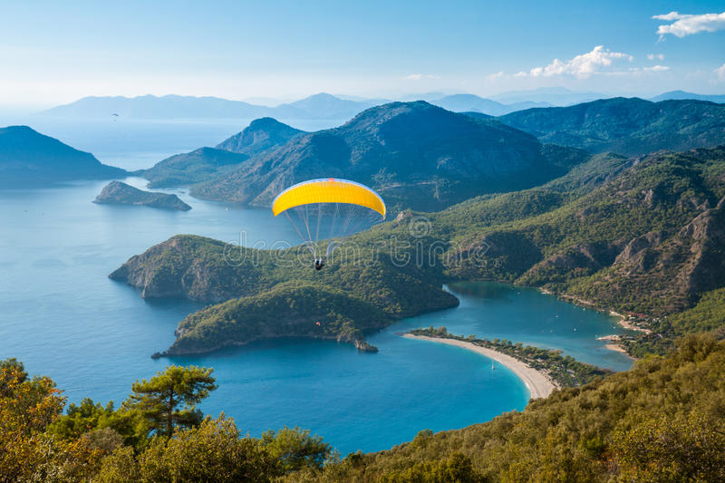 Oludeniz lagoon in sea landscape view of beach royalty free stock photography