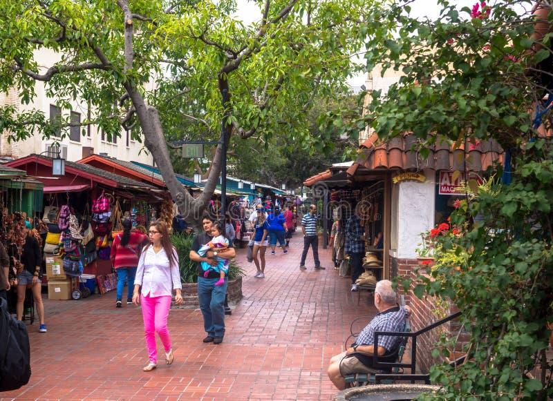 Olvera gata Historisk turist- dragning Los Angeles, USA royaltyfri bild
