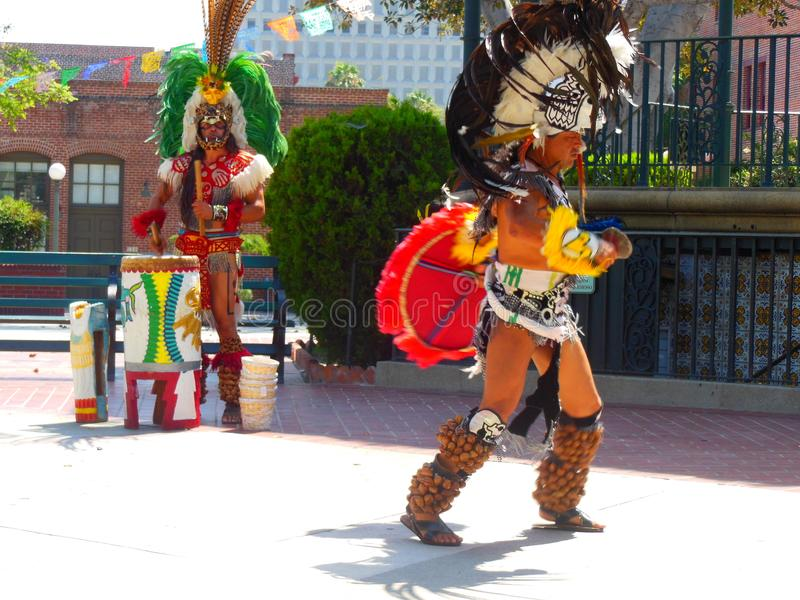 Olvera Street in Los Angeles Aztec Dancers. Olvera Street in downtown Los Angeles hosts many cultural events throughout the year. The Aztec Indian Dance from royalty free stock images