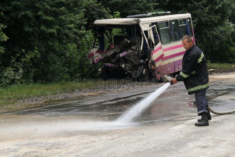 Olycka av bussen arkivbild