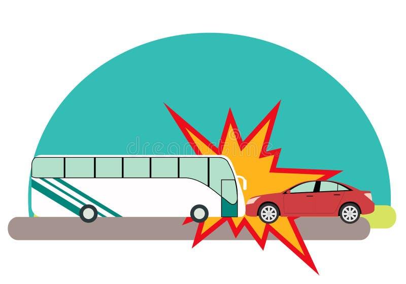 olycka bruten bilchaufförfokus nära reflekterande varning för vest för vägsäkerhetstriangel stock illustrationer