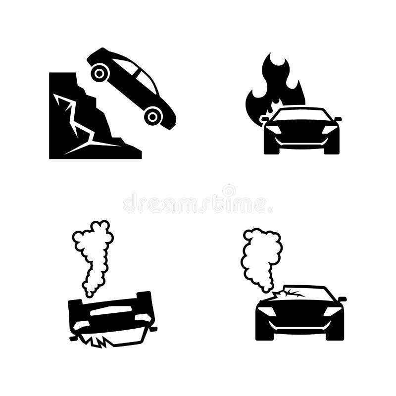 olycka bruten bilchaufförfokus nära reflekterande varning för vest för vägsäkerhetstriangel Enkla släkta vektorsymboler royaltyfri illustrationer