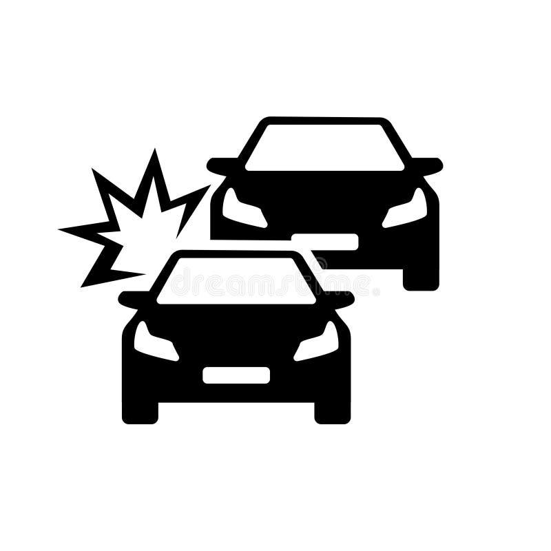 Olycka för bilkrasch på vägvektorn vektor illustrationer