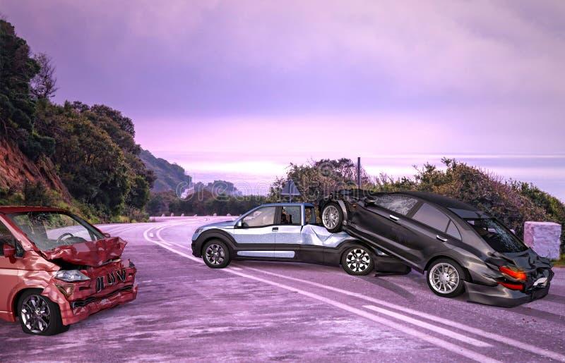Olycka för tre bilar Kraschat på vägen på läge royaltyfri fotografi