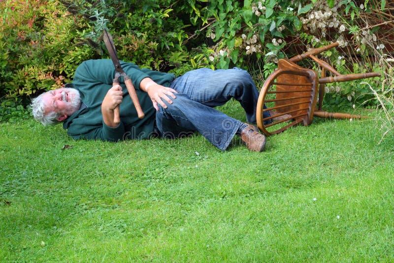 Olycka stupat over för trädgård fara royaltyfria bilder