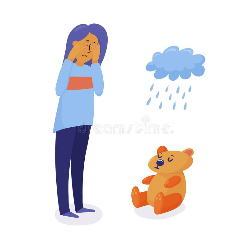 Olycklig deprimerad kvinna, flickaanseende och gråt stock illustrationer
