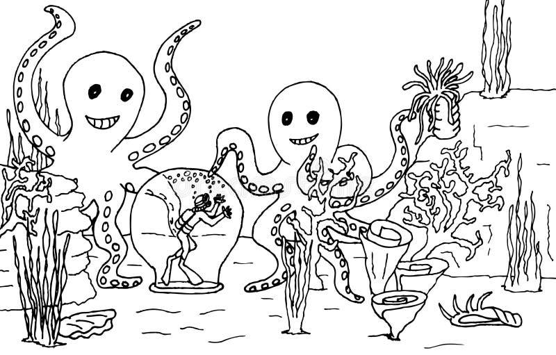 olycklig dykningscuba royaltyfri illustrationer