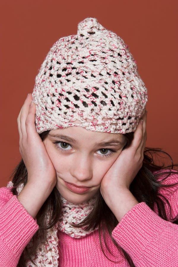 olycklig flicka arkivbild