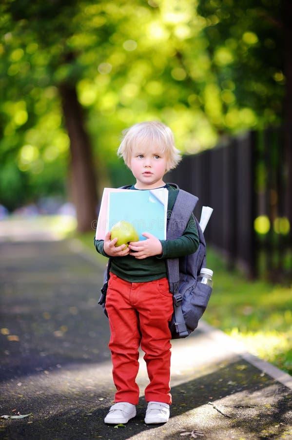 Olycklig liten skolpojke på solig höstdag tillbaka begreppsskola till arkivfoto