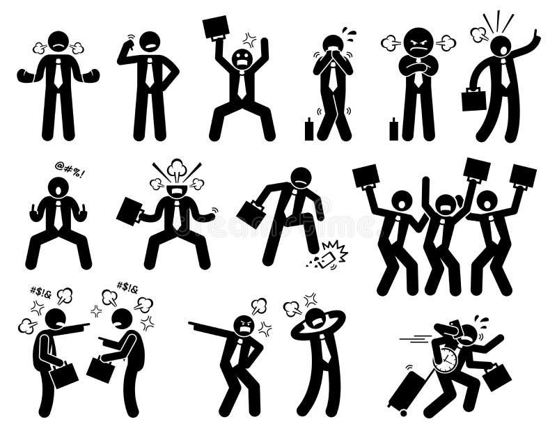 Olycklig och ilsken affärsman stock illustrationer