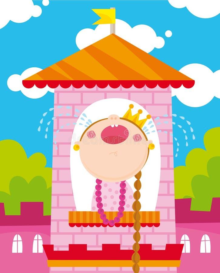 olycklig princess stock illustrationer