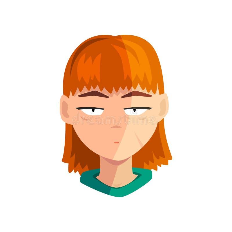 Olycklig rödhårig manflicka, kvinnlig emotionell framsida, avatar med ansiktsuttryckvektorillustrationen på en vit bakgrund stock illustrationer