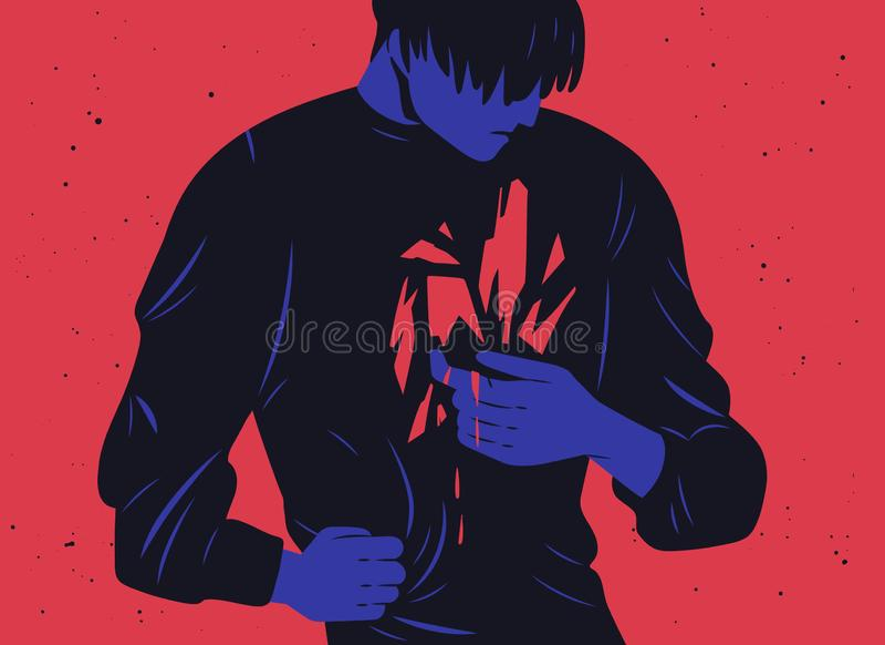 Olycklig ung man och hans inre trauma- eller blödningärr Begrepp av fördjupningen, mental sammanbrott, psykiskt problem stock illustrationer