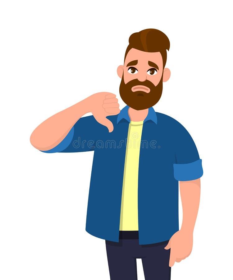 Olyckliga visningtummar för ung man undertecknar ner gest Motvilja ogillar, besvikelse, ogillar, inget avtalsbegrepp stock illustrationer