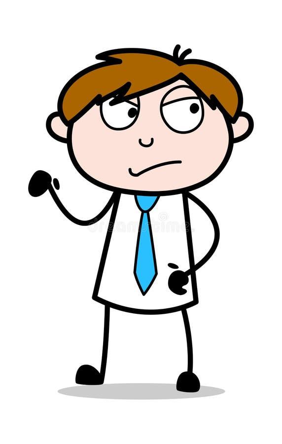Olyckligt lynne - kontorsrepresentantEmployee Cartoon Vector illustration royaltyfri illustrationer