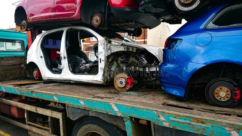 Olycksbilbiltransport royaltyfri foto