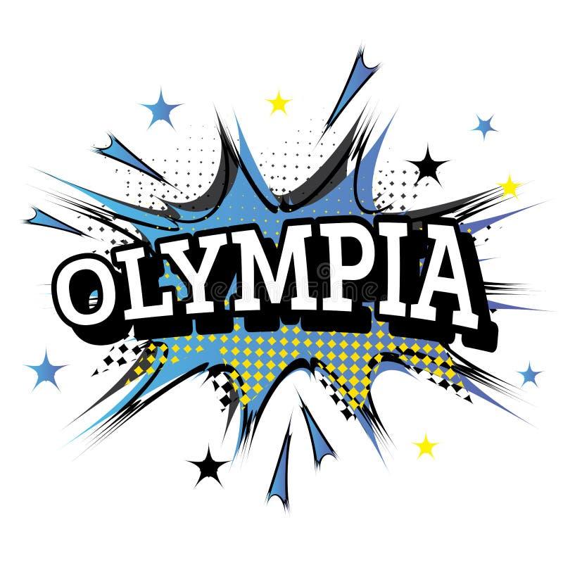 Olympia Comic Text i popet Art Style stock illustrationer