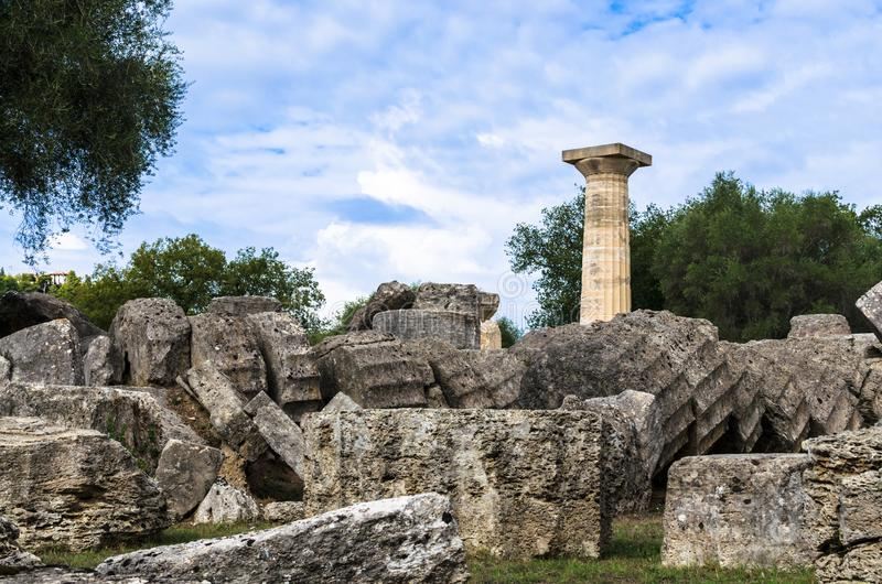 View of the majestic ruins of the temple of Zeus, ancient Olympia, Peloponnes, Greece royalty free stock image