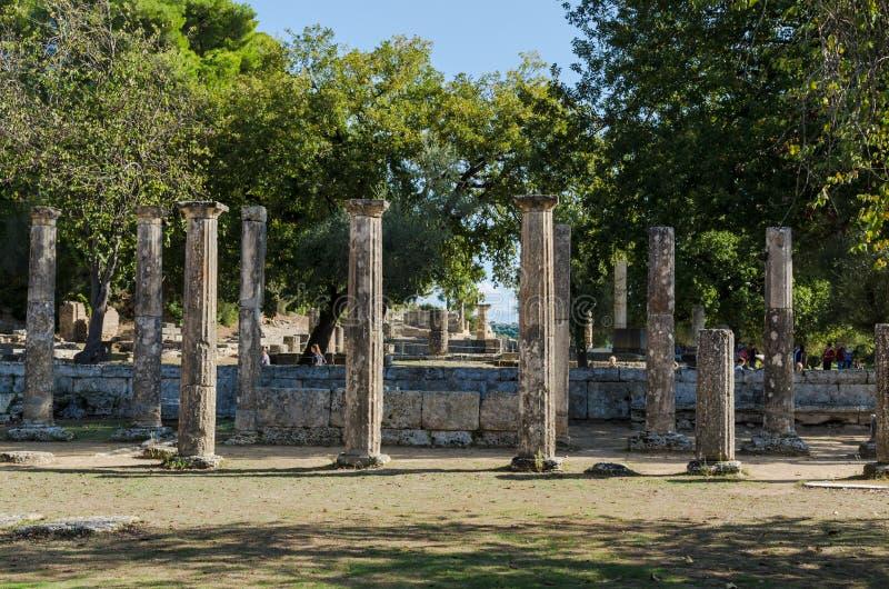 Olympia Grekland - Oktober 31, 2017: Fördärvar av den forntida Olympia, Peloponnesus, Grekland arkivfoto