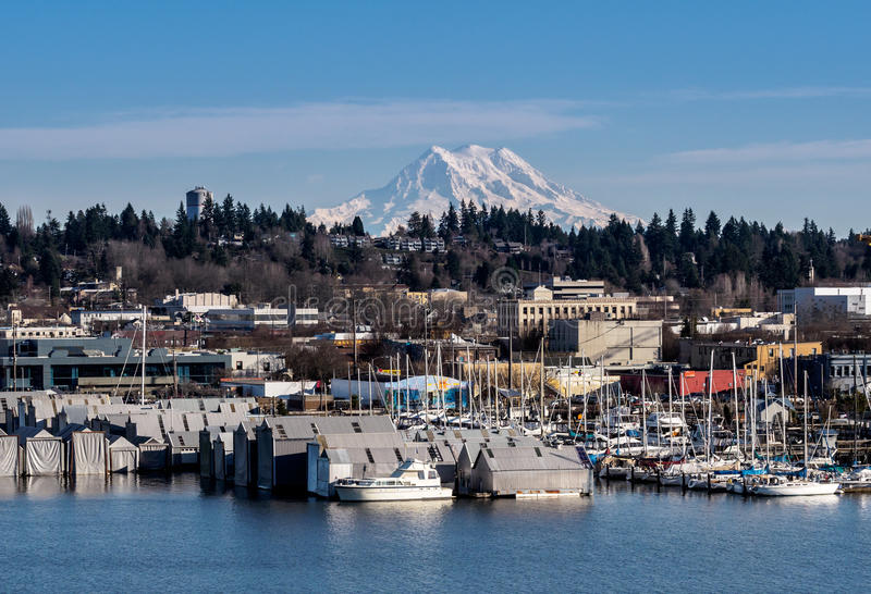 Olympia And Mt rainier arkivfoto