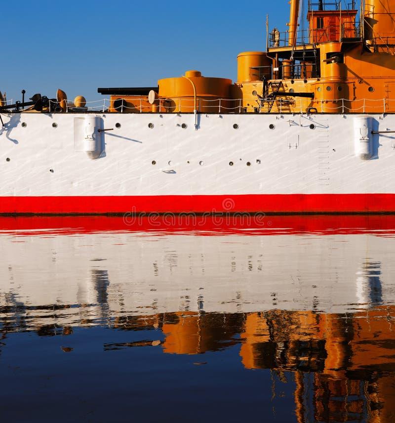 A Olympia protegida de USS do cruzador, em Philadelphfia fotos de stock