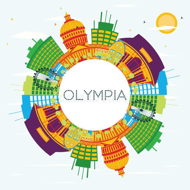 Olympia Skyline med färgbyggnader, blå himmel och kopieringsutrymme royaltyfri illustrationer