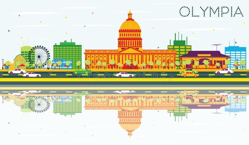 Olympia Skyline med färgbyggnader, blå himmel och reflexioner stock illustrationer