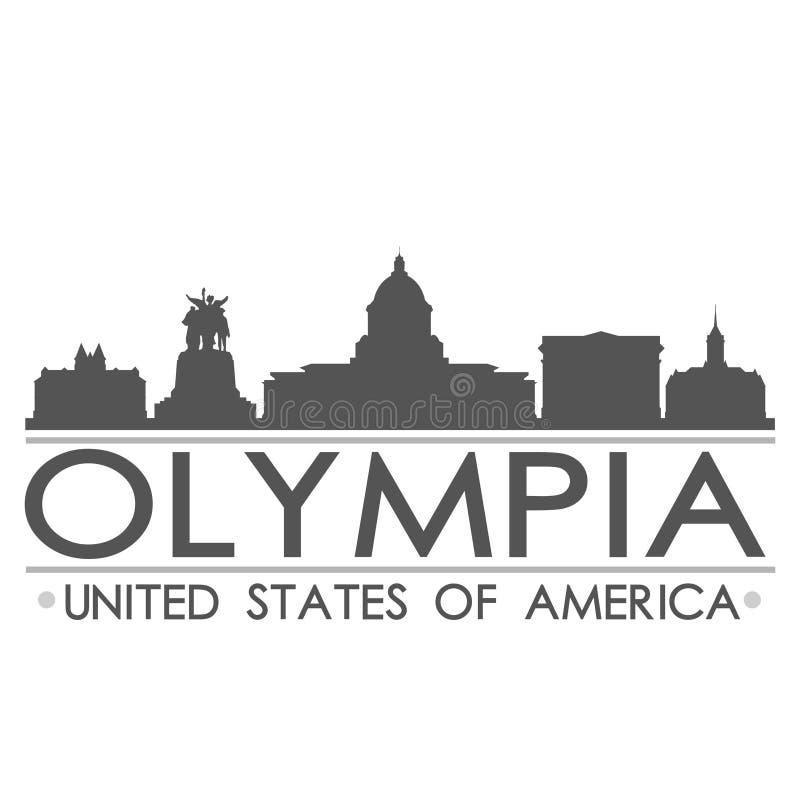 Olympia Skyline Symbol Design City vektorkonst stock illustrationer
