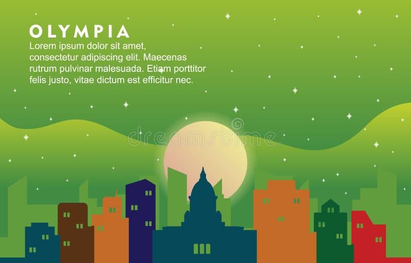 Olympia Washington City Building Cityscape Skyline dynamisk bakgrundsillustration royaltyfri illustrationer