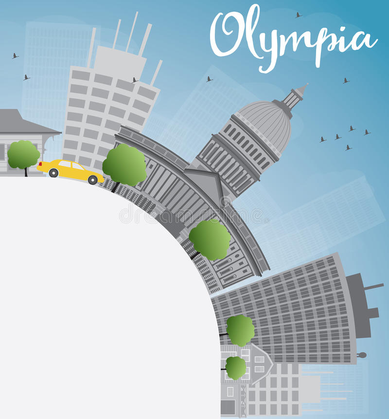 Olympia (Washington) horisont med Grey Buildings stock illustrationer