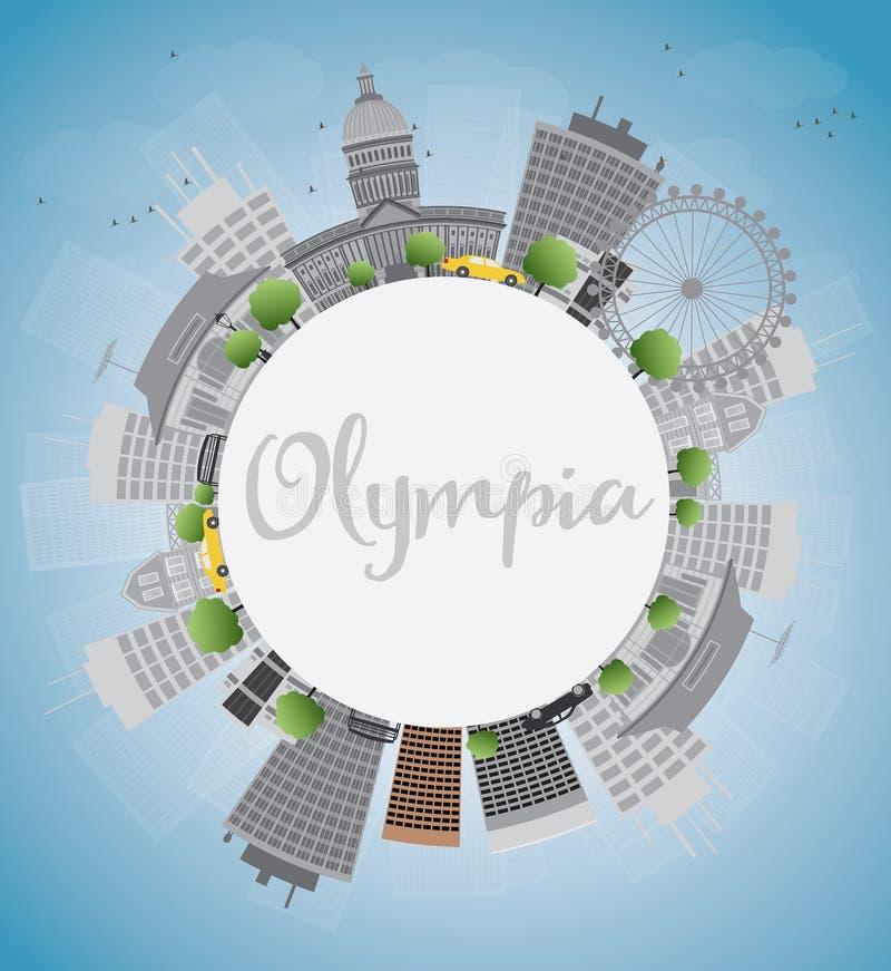 Olympia (Washington) horisont med Grey Buildings vektor illustrationer