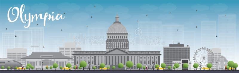 Olympia (Washington) horisont med Grey Buildings och blå himmel vektor illustrationer