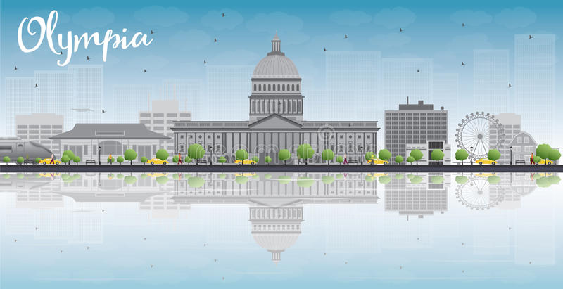 Olympia (Washington) horisont med Grey Buildings och reflexioner vektor illustrationer