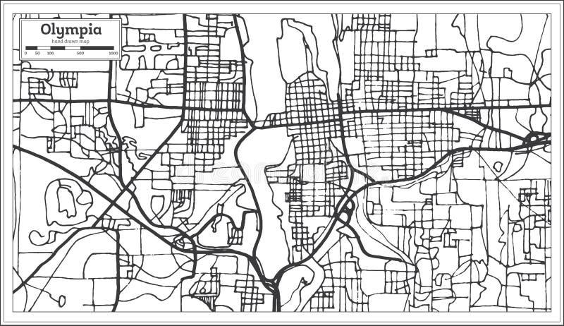 Olympia Washington USA stadsöversikt i Retro stil stock illustrationer