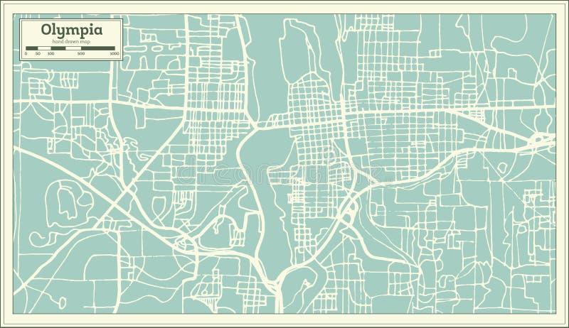 Olympia Washington USA stadsöversikt i Retro stil skisserar kartlägger vektor illustrationer