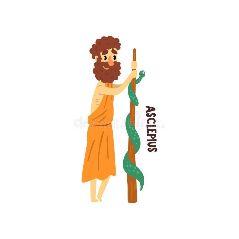 Olympian ελληνικός Θεός Asclepius, αρχαία διανυσματική απεικόνιση χαρακτήρα μυθολογίας της Ελλάδας σε ένα άσπρο υπόβαθρο απεικόνιση αποθεμάτων