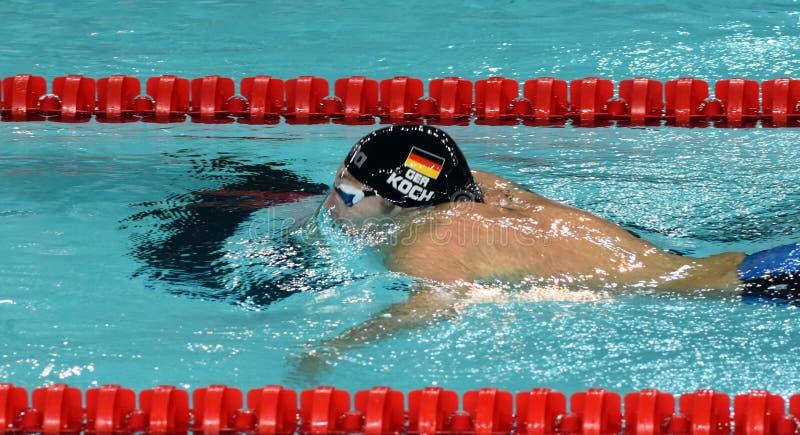 Olympian, wereldkampioen en recordhouderszwemmer Marco KOCH GER royalty-vrije stock afbeeldingen