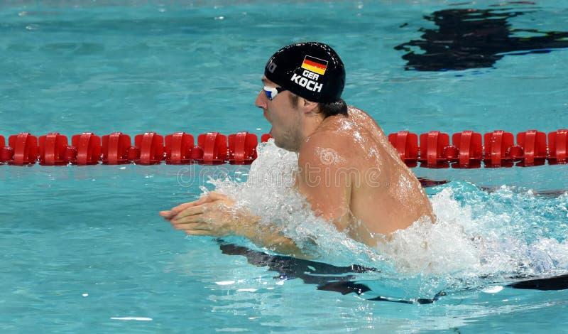 Olympian, wereldkampioen en recordhouderszwemmer Marco KOCH GER stock fotografie