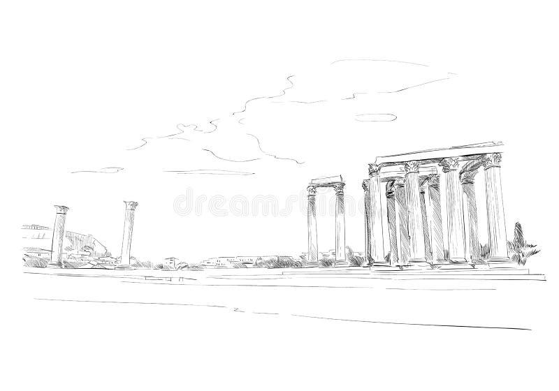 olympian zeus świątyni athens Grecja Ręka rysujący nakreślenie również zwrócić corel ilustracji wektora ilustracji