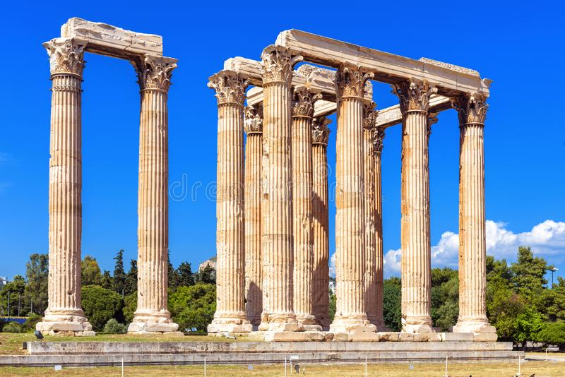 Olympian Zeus temple in summer, Athens, Greece. It is one of top landmarks of Athens. Majestic view of Ancient Greek ruins in. Summer. Great columns of the stock image