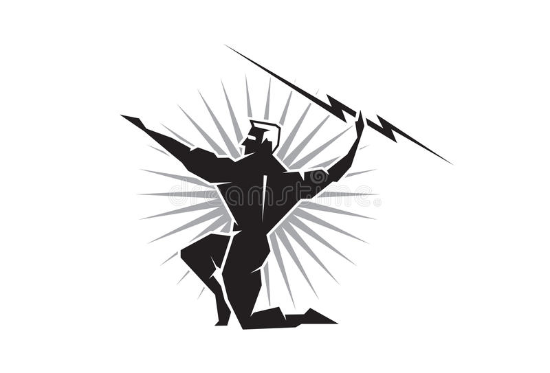 Olympian Zeus throwing a bolt of lightning vector illustration