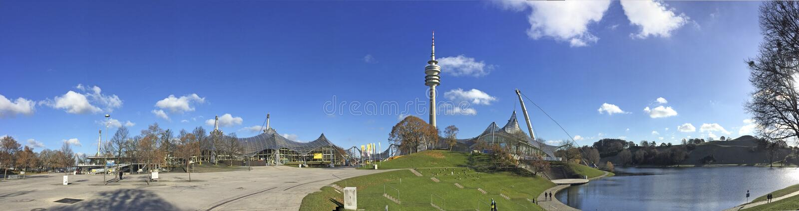 The Olympiapark in Munich, Germany, is an Olympic Park which was constructed for the 1972 Summer Olympics royalty free stock photo