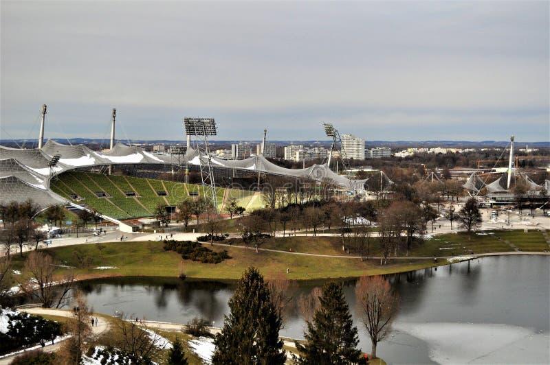 Olympiastadion, birdseye des Olympiastadions München Ansicht stockfoto