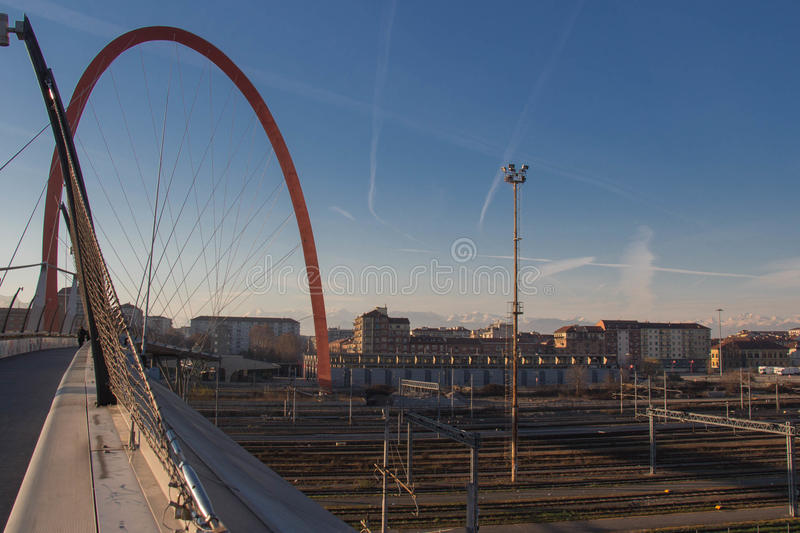 Olympic Arch of Turin and buildings on background. Lingotto district. Turin. Italy. stock photos