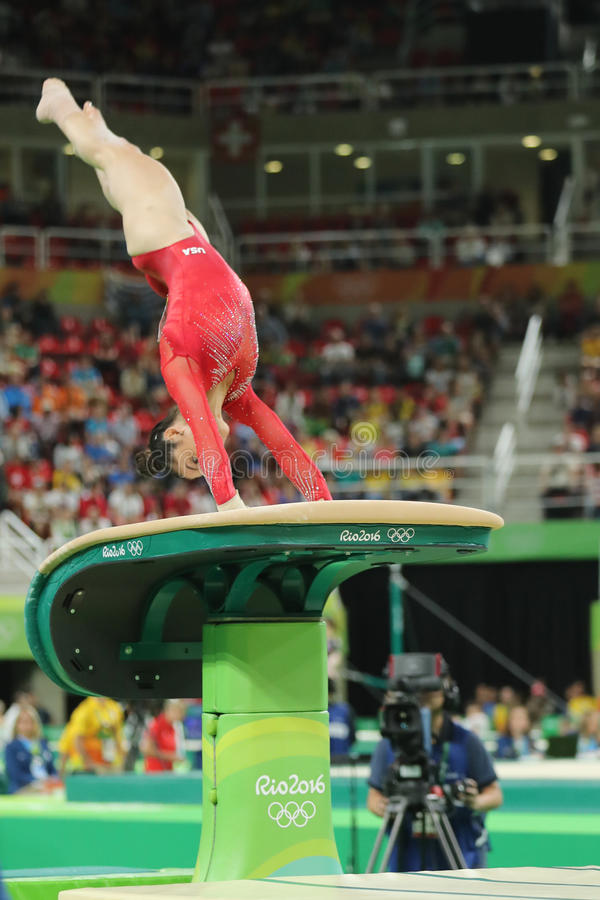 Dipa Karmakar of India falls while competing in the Women's Vault Final on  Day 9 of