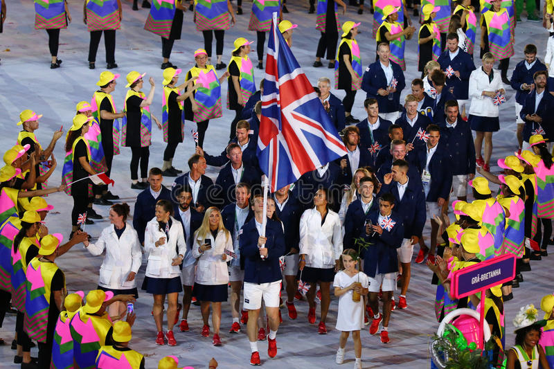 Olympic champion Andy Murray carrying the United Kingdom flag leading the Olympic team Great Britain in the Rio 2016 Opening. RIO DE JANEIRO, BRAZIL - AUGUST 5 royalty free stock photo