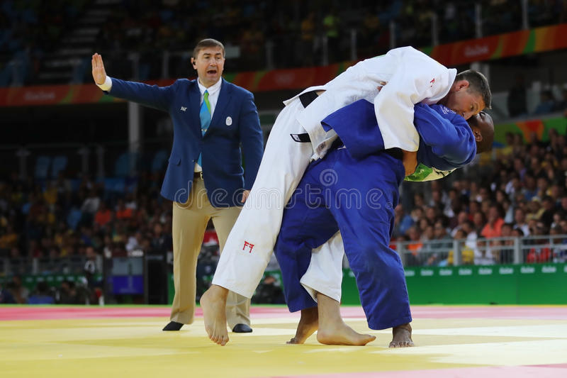 Olympic champion Czech Republic Judoka Lukas Krpalek in white after victory against Jorge Fonseca of Portugal stock photo