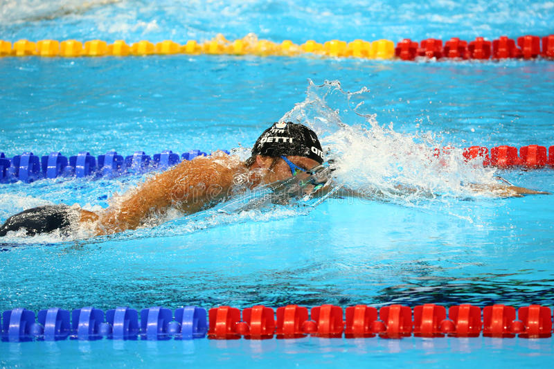 Olympic champion Gregorio Paltrinieri of Italy in action during the men`s 1500 metre freestyle final of the Rio 2016 Olympics royalty free stock images