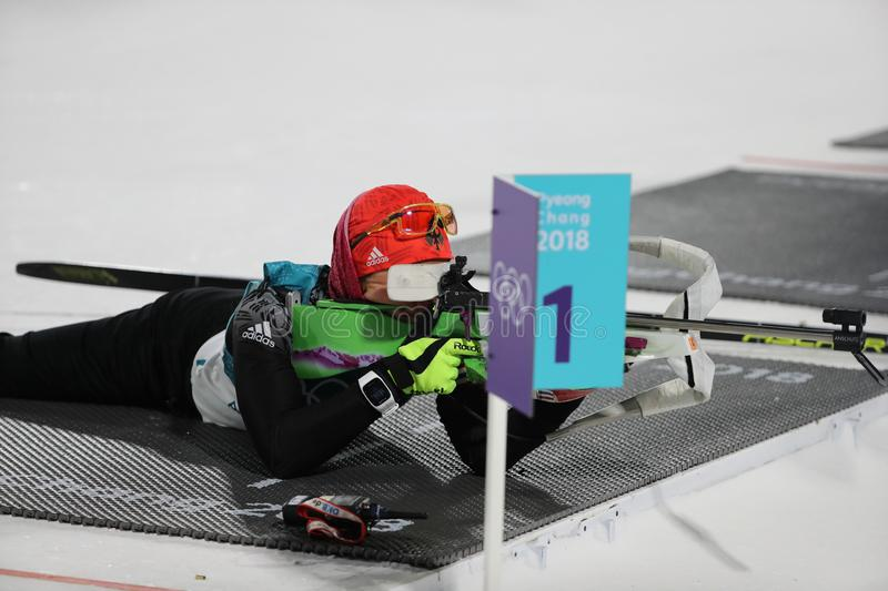 Olympic champion Laura Dahlmeier of Germany competes in biathlon women`s 10 km pursuit at the 2018 Winter Olympics. PYEONGCHANG, SOUTH KOREA - FEBRUARY 12, 2018 stock photography
