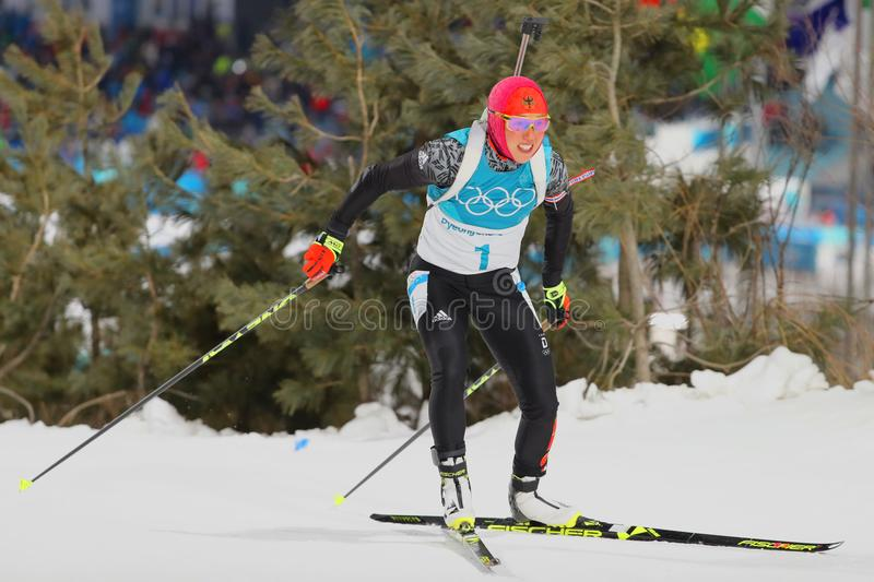 Olympic champion Laura Dahlmeier of Germany competes in biathlon women`s 10 km pursuit at the 2018 Winter Olympics. PYEONGCHANG, SOUTH KOREA - FEBRUARY 12, 2018 stock photos